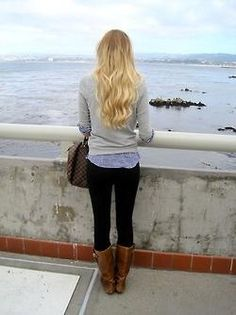 Outfit Inspiration Leggings Chambray Sweater Brown boots 3387 |2013 Fashion High Heels|