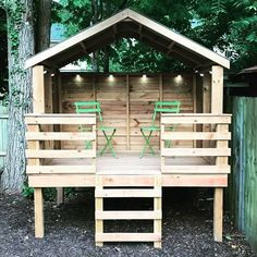 Perfect design for the NW corner of the backyard, we could use 'pallet' wood for the surround, deck railing and roofing. Create 8 x 8 Backyard Fort, Backyard Playground, Backyard For Kids, Backyard Projects, Outdoor Projects, Backyard Landscaping, Backyard Play Areas, Backyard Treehouse, Treehouse Ideas