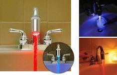 Torneira com luz: vermelha (quente), azul (fria).
