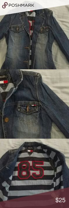 Beautiful Tommy jean jacket used once !!!! Really cute Tommy jean jacket fits like extra smaller or small Tommy jeans Jackets & Coats Jean Jackets