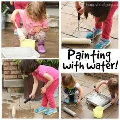 Painting with Water - a fun, outdoor, summer activity for kids