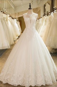 Ball Gown Appliques Beading Scoop Neck Wedding Dresses