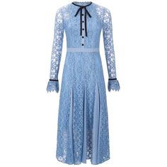 Temperley London Eclipse Lace Collar Dress ($1,095) ❤ liked on Polyvore featuring dresses, midi, natural, neck tie dress, blue midi dress, a line midi dress, a line dress and ruffle sleeve dress