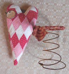 Primitive Vintage Red Pink Quilted Heart Nodder Bed Spring Primitive Valentine #NaivePrimitive #artist