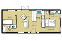 This cabin design floor plan is 1704 sq ft and has 3 bedrooms and has 2 bathrooms. Mini House Plans, Shed House Plans, 2 Bedroom House Plans, Shed To Tiny House, Small House Floor Plans, Best Tiny House, Cabin Floor Plans, Tiny House Cabin, Cottage House Plans