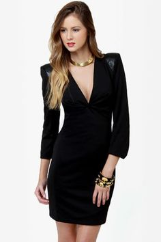 LOVE THIS A LITTLE TOO MUCH!!!! NEED!!!!! Edgy Black Dress - LBD - Shoulder Pad Dress - Structured Shoulder Dress - $65.00