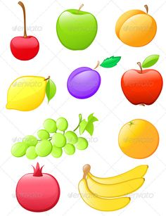 Buy Glossy Fruit Icons by Artness on GraphicRiver. Set of glossy fruit icons. Zip file contains fully editable vector file and high resolution RGB Jpeg image. Vector File, Vector Stock, Fruit Icons, Ecommerce Logo, Logo Images, Website Template, Graphic Prints, Pomegranate, Mobile App