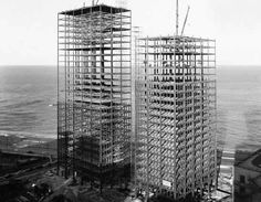 mies van der rohe buildings before completion in '55. 900/901 lake shore drive, chicago.