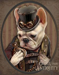 Emerson the French Bulldog Art Gentleman Victorian Steampunk Goggle Pocketwatch Original Illustration Portrait 11x14in Poster Print