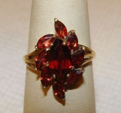 Beautiful Vintage Solid Gold Multi Marquise Cut Garnet Spray Ring Sz - Marquise Ring - Ideas of Marquise Ring - 0 The post Beautiful Vintage Solid Gold Multi Marquise Cut Garnet Spray Ring Sz appeared first on Awesome Jewelry. Marquise Diamond, Marquise Cut, Rings With Meaning, 1 Carat, Eternity Ring, Solid Gold, Garnet, Wedding Bands, Brooch