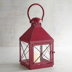 Pier 1 Imports Bennett Small Metal Lantern ($10) ❤ liked on Polyvore featuring home, home decor, candles & candleholders, red, metal candle, pier 1 imports, red home accessories, metal lanterns and red home decor
