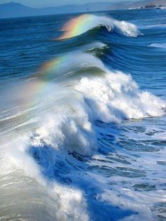 Mini-rainbows on the surf from the ocean waves Sea And Ocean, Ocean Beach, Ocean Waves, Pacific Ocean, Beautiful World, Beautiful Places, Simply Beautiful, Image Nature, Belle Photo