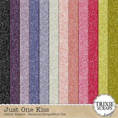 Just One Kiss Digital Scrapbooking Glitter Papers Disney - First love's kiss, enchanted forests, princes and princesses and magical kingdoms all come to mind when you take a look at my newest collection, Just One Kiss. Perfect for photos of all your little princesses playing dress-up, for Halloween, character meetings at your favorite amusement park and all those magical moments of every little girl's life. This beautiful collection is loaded with flowers, sparkles, hearts, fairies and fun!