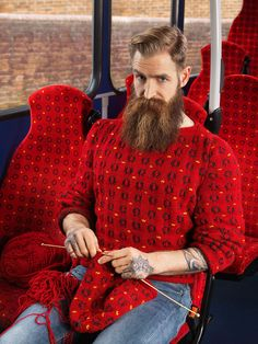 People photographed by Joseph Ford blending into the background with real knitted jumpers