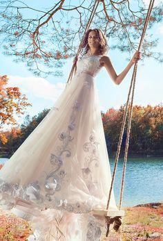 papilio 2017 bridal sleeveless sheer jewel neckline heavily embellished bodice tulle skirt romantic blush color modified a  line wedding dress open v back long train (swamphen) mv -- Papilio 2017 Wedding Dresses