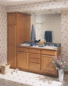 One of many design ideas for your bathroom from Merillat Cabinets, available at Zeeland Lumber & Supply. Cabinets And Countertops, Bathroom Cabinets, Corian, Marquis, Double Vanity, Bathrooms, Design Ideas, Bathroom Vanity Cabinets, Marquess