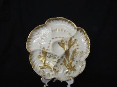 VINTAGE CHINA OYSTER PLATE HAVILAND LIMOGES FRANCE GOLD ACCENTS (#3670)    eBay