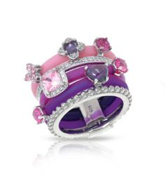 Belle Etoile Constellations Ellipse Pink and Purple Ring #imagesjewelers #belleetoile #ring