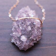 Lavender amethyst druzy necklace  14 karat gold by friedasophie, $79.00