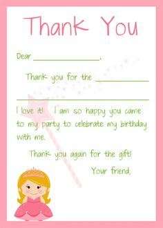 Kids Fill In The Blank Thank You Cards For Girls