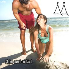 #BeachRule # 4 Beach Rules, Building Sand, Couple Laughing, Bikinis, Swimwear, Competition, Castle, Couples, Ideas