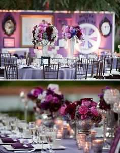 tables draped with a Victorian lilac linen and complimented with a deep aubergine napkin (photo by Natalie Norton Photography)