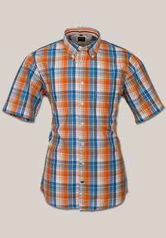 OLYMP Casual Hemd Halbarm Multicolor Karo orange/blau 7403/12/91