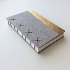 Natural Linen Coptic Bound Notebook with Minimalist by paperiaarre