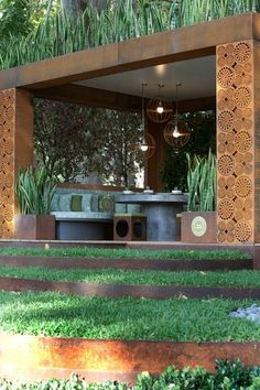 Entanglements Metal Summer Houses Natural Rust finish Melbourne Flower & Garden Show MIFGS 2012