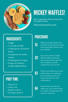 Want to make Mickey Waffles that taste just like the ones from Disney World or Disneyland? Then get the recipie here! Step by step instuctions! Disney Themed Food, Disney Inspired Food, Disney Food, Disney Dishes, Disney Desserts, Disney Recipes, Cooking Ideas, Cooking Recipes, Dc Food