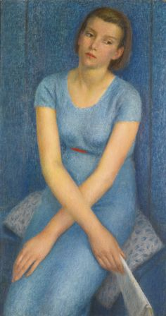 Dod Procter, R.A. 1892-1972 BLUE (PORTRAIT OF A YOUNG GIRL) signed; further signed, titled and inscribed on the stretcher bar, oil on canvas 101.5 by 55cm. Executed in 1938