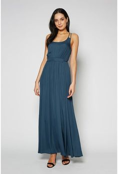 Double Strap Maxi Dress Pewter 1
