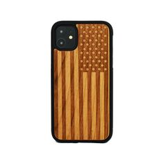 American Flag Engraved Carved Wooden Unique Case for Apple iPhone
