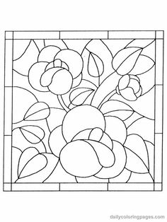 stained glass flower coloring pages - print in mini and trace onto vellum for dollhouse windows