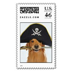 Golden Retriever Halloween Pirate Postage Stamp