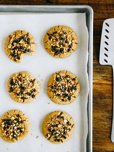 Peanut butter cookies with chocolate-peanut topping || Oh, Ladycakes
