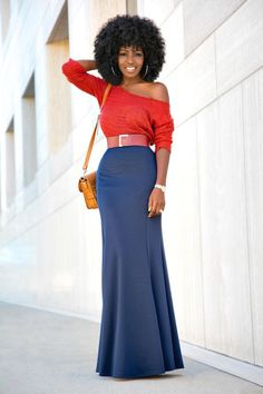 Off Shoulder Rust Sweater + Mermaid Style Maxi Skirt