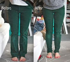 Turn Flared Pants into Skinny Leg & Shorten Pants using the original hem