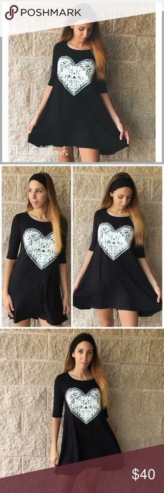 🆕Black Lace Heart Shift  Dress Black swing dress with 3/4th sleeves. Delicate lace heart detailing in the center of dress to add a feminine and flirty look. Perfect transitional dress from summer to fall. Light and airy fabric made of rayon & spandex blend. Sizes S,M,L.                                                                 S Bust 46 Length front 40/ back 50  M Bust 48 Length front 40 / back 50  L Bust 52 Length front 40 / back 50 Dresses