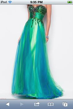 long green and blue prom dress