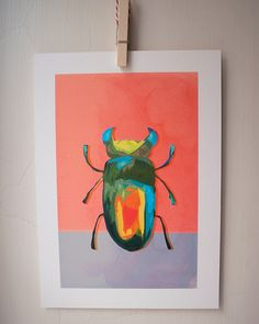 Very Important Creatures by vimportantcreatures Beetle, Creative Art, Etsy Store, Original Art, Creatures, Bright, Colour, Wall Art, Unique Jewelry