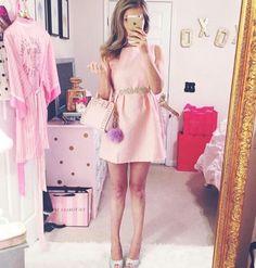 Pink dress and gemstone belt