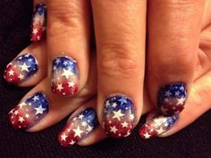 Sponged ombre red, white, and blue nails with white stars for Fourth of July Fancy Nails, Pretty Nails, Nail Polish Designs, Nail Art Designs, Usa Nails, Blue Ombre Nails, Patriotic Nails, Nailart, American Nails