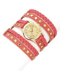 Look at this #zulilyfind! Pink & Gold Wrap-Around Watch #zulilyfinds