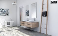 DCS Wooden Ladder, Heated towel rail, Natural Oak. www.dcshort.com