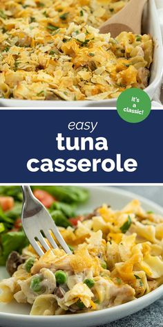 A childhood classic that should be in every recipe repertoire, this Tuna Casserole is nostalgic and comforting and creamy and delicious. It's always a family favorite for a reason! families Classic, Easy Tuna Casserole Recipe - Taste and Tell Fish Recipes, Seafood Recipes, Cooking Recipes, Noodle Recipes, Bean Recipes, Yummy Recipes, Tuna Casserole Recipes, Casserole Dishes