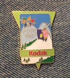 Torch~Olympic Pin Badge~sponsor IBM ~1998 Nagano~Winter Games