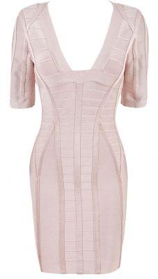 077740308574c Clothing   Dresses   Bodycon Dresses    Emma  Blush Pink Midi Sleeve  Bandage Dress