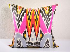 Ikat pillow cover constructed from hand woven Ikat fabric from Uzbekistan.     • Size: 17x 17   • 50% Silk/50% Cotton   • Authentic hand woven