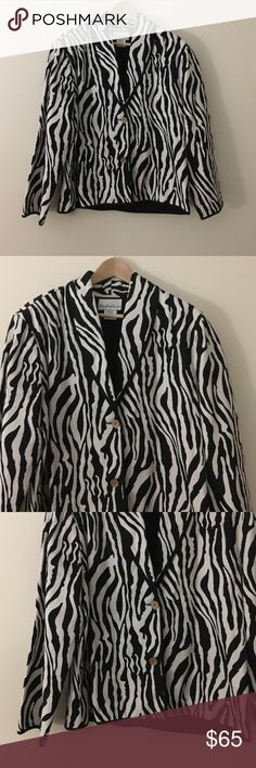 """Jacqueline Lauren M cotton zebra print coat Trendy and fun Jacqueline Lauren black and white zebra print, blazer style jacket in a size medium. This is 100% cotton jacket is machine wash cold. Dimensions taken while garment is laying flat and buttoned: 44"""" bust, 42"""" waist, 44"""" hips, length from shoulder to bottom hem 23"""", sleeve length 24"""". Jacqueline Lauren Jackets & Coats Blazers"""